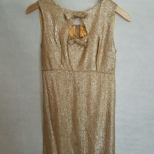 Women's 1950s Unlabeled Gold Party Dress